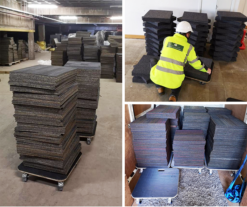 Evo Supplies skates in use during carpet tile collection