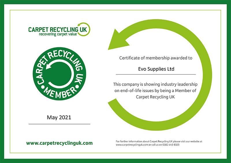 Evo Supplies Membership Certificate