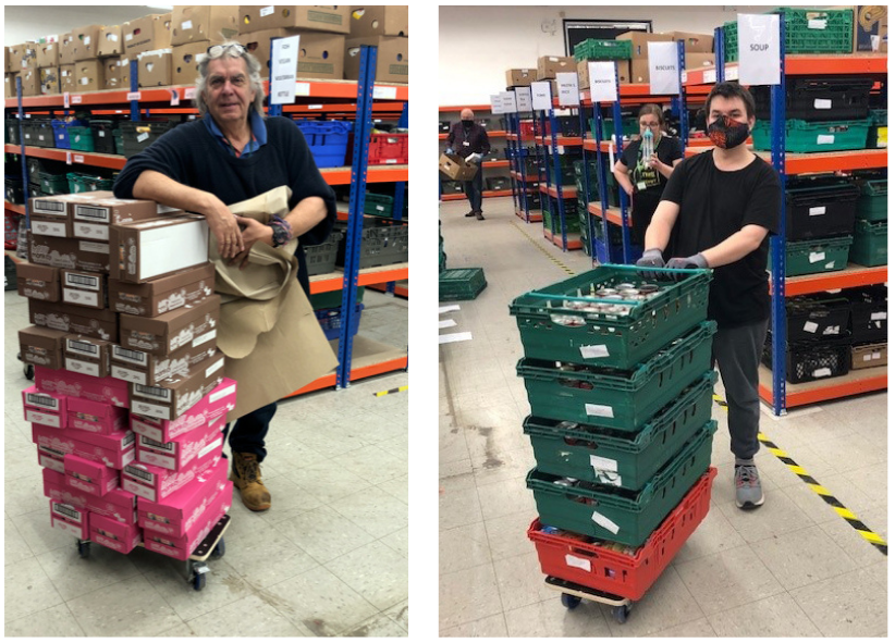 Armin and Oli of Colchester Foodbank with dollies donated by Evo Supplies